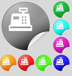 Cash register icon sign set of eight multi-colored vector