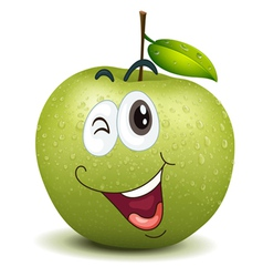 Winking apple smiley vector