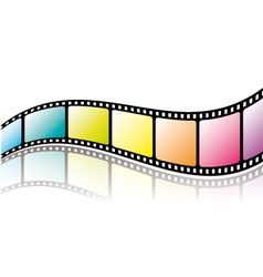 Colorful film roll with reflection vector