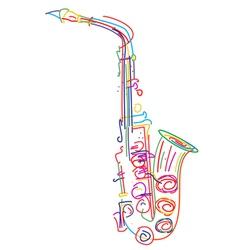 Neon saxophone vector