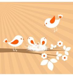 Birds family spring card vector