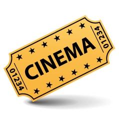 Yellow cinema ticket vector