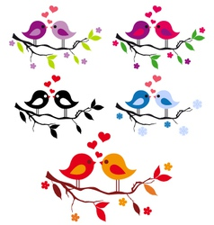 Cute birds with red hearts on tree set vector