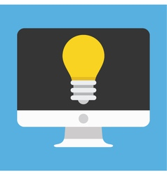 Computer display and light bulb icon vector