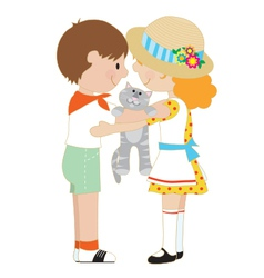 Kids and kitten vector