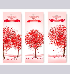 Three holiday banners valentine trees with vector
