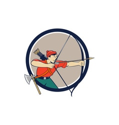 Archer aiming long bow arrow cartoon circle vector