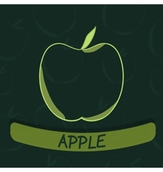Apple flavour seal on green seamless background vector