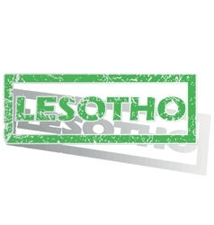 Green outlined lesotho stamp vector