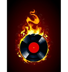 Burning vinyl record vector