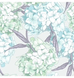 Beautiful blue hydrangea seamless background vector