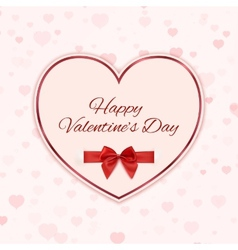 Paper heart with red ribbon and a bow isolated on vector