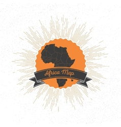 Africa map with vintage style star burst retro vector