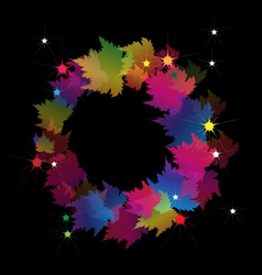 Beautiful colorful wreath made from maple leaves vector