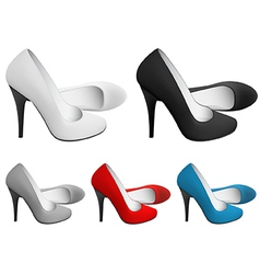 High-heeled blank shoes template vector