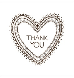 Heart with thank you text vector