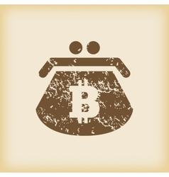 Grungy bitcoin purse icon vector