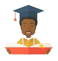 Black man with graduation cap vector