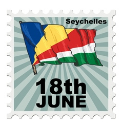 Post stamp of national day of seychelles vector