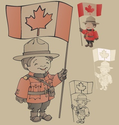 Cute cartoon canadian mounties with a flag of vector