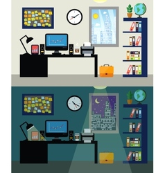 Office day and night vector