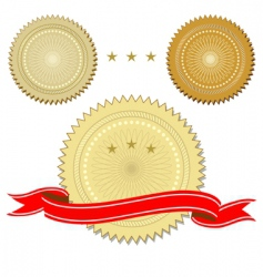 Set of seals with ribbon vector
