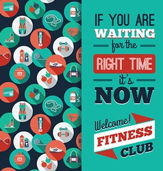 Fitness icons background with typography vector