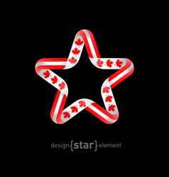 Star with canadian flag colors and symbols design vector
