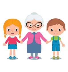 Grandmother and grandchildren a boy and girl vector
