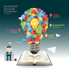 Open book infographic education light bulb techno vector