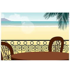 Seaside cafe background vector