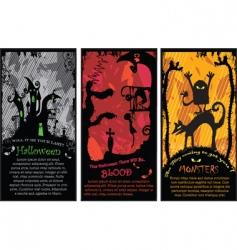 Set of vertical halloween banners vector