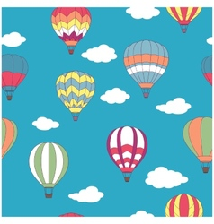 Colored hot air balloons seamless pattern vector