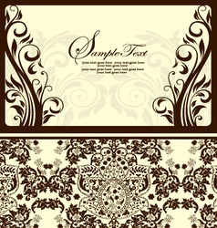 Brown damask card vector