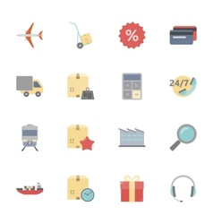 Logistics flat icons set vector