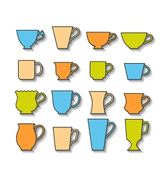 Set of mugs color silhouettes of dishes symbols vector