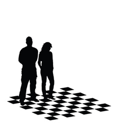 Man and girl on chess table vector