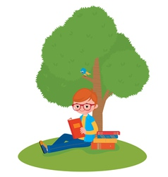 Boy reading a book sitting under a tree vector