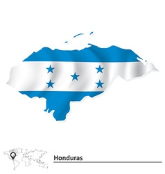 Map of honduras with flag vector