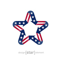 Star with american flag color and symbol design vector