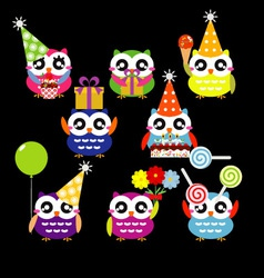 Set of party owls vector