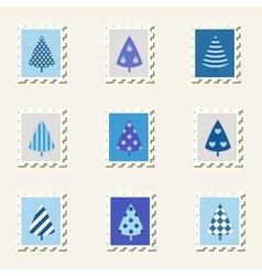 Postal stamps set fir-trees vector