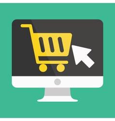 Computer display buy online icon ecommerce vector