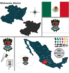 Map of michoacan vector