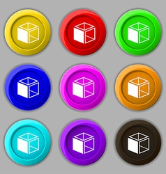 3d cube icon sign symbol on nine round colourful vector