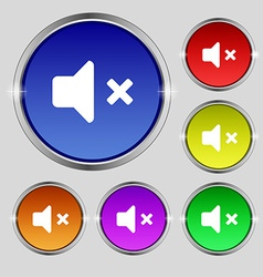 Mute speaker sound icon sign round symbol on vector