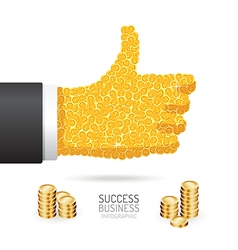 Infographic business coins good sign hand shape vector
