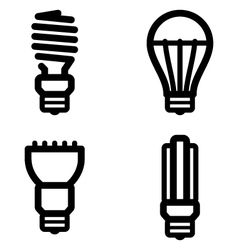 Ecology lamp pictograms vector
