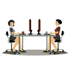 Women employees working vector