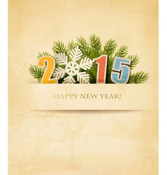 2015 with a snowflake on old paper background vector